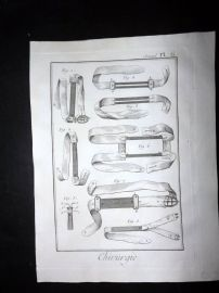 Diderot C1785 Antique Print. Chirurgie 06 Medical, Surgical Instruments